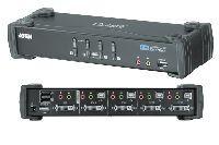 Aten CS1764A ATEN DVI KVM Switch CS1764A mit Audio, USB, 4-fach, Desktop, mit Anschlusskabeln
