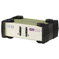 Aten CS82U ATEN KVM Switch CS82U, PS/2 und USB, 2-fach, Desktop, mit Anschlusskabeln